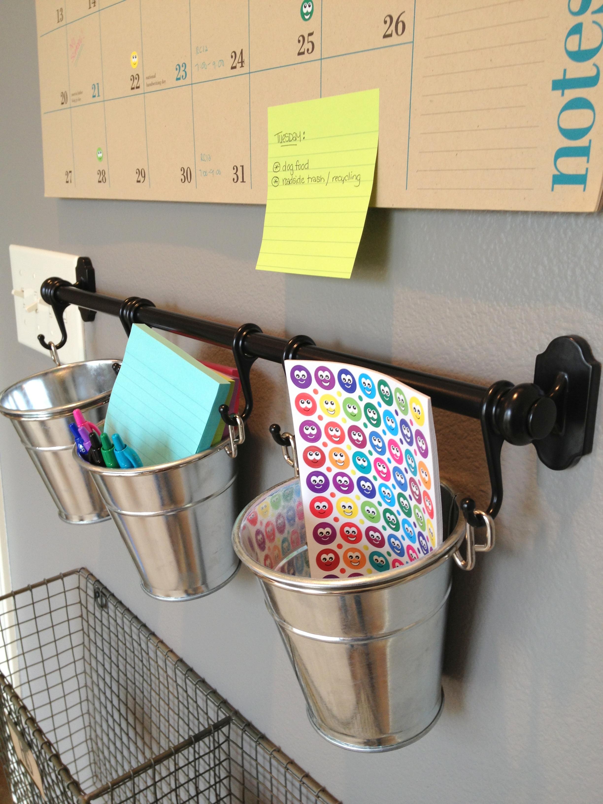 Close up pails and calendar