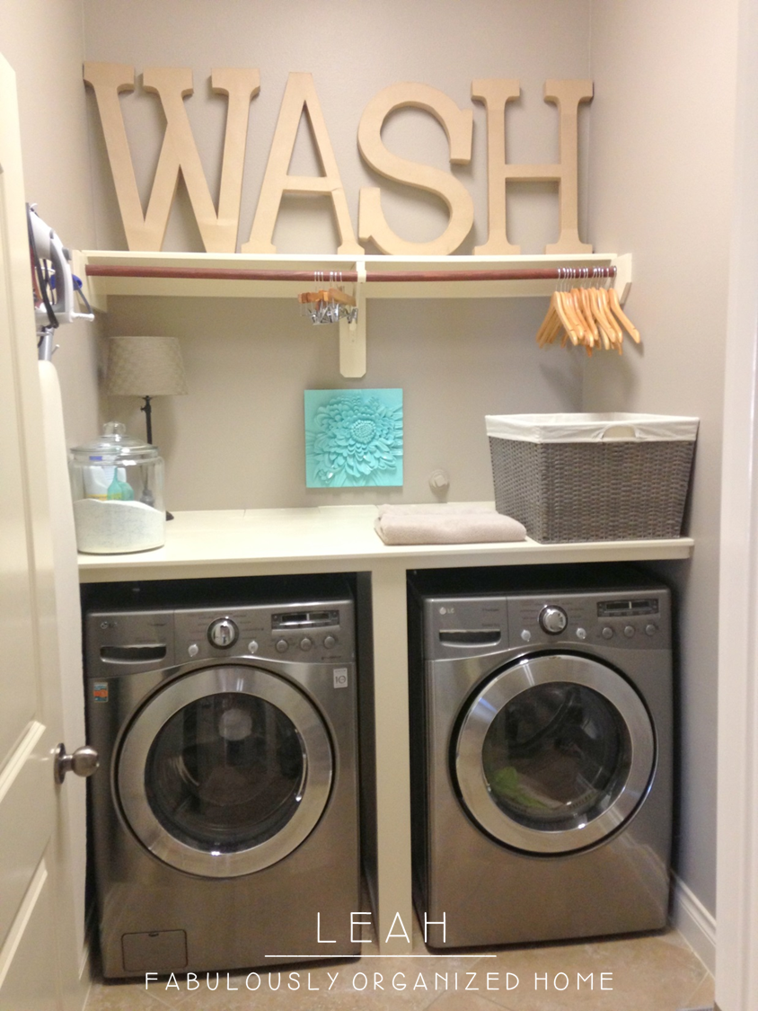 how I put together the wash + dry + fold station in our laundry